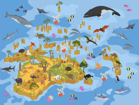 Isometric 3d Australia and Oceania flora and fauna map elements. Animals, birds and sea life. Build your own geography infographics collection. Vector illustration