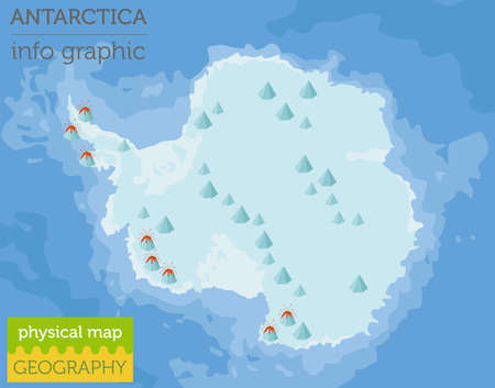 Antarctica physical map elements. Build your own geography info graphic collection. Vector illustration