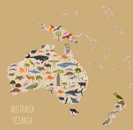Australia and Oceania flora and fauna map, flat elements. Animals, birds and sea life big set. Build your geography infographics collection. Vector illustration Иллюстрация