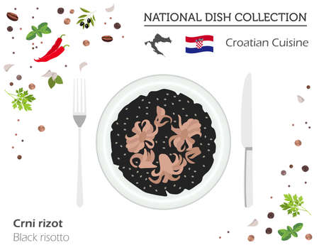 Croatian Cuisine. European national dish collection. Black risotto isolated on white, infographic. Vector illustration 向量圖像