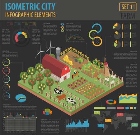 Flache isometrische 3d Ackerland- und Stadtplanerbauerelemente lokalisiert auf Weiß. Bauen Sie Ihre eigene Infografik-Sammlung auf. Vektor-illustration Vektorgrafik
