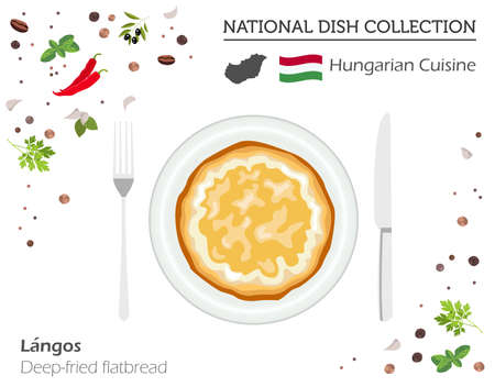 Hungarian Cuisine. European national dish collection. Deep-fried flatbread isolated on white, infographic. Vector illustration