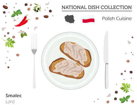 Polish Cuisine. European national dish collection. Lard isolated on white, infographic. Vector illustration