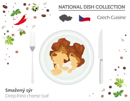 Czech Cuisine. European national dish collection. Deep-fried cheese loaf isolated on white, infographic. Vector illustration