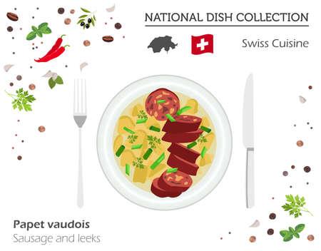 Zwitserse keuken. Europese nationale schotelverzameling. Worst en preien op wit, grafische die info wordt geïsoleerd.