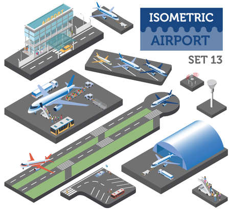 3d isometric airport and city map constructor elements isolated on white. Build your own infographic collection. Vector illustration Ilustração