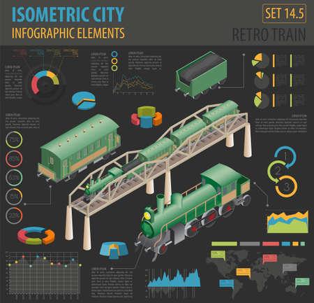 Chemin de fer rétro isométrique 3D avec locomotive à vapeur et voitures. Éléments de constructeur de plan de ville. Créez votre propre collection d'infographie. Illustration vectorielle