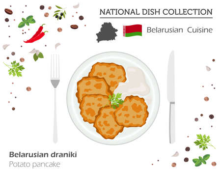 Belarusian cuisine, European national dish collection. Potato pancakes isolated on white, infographic vector illustration. Vettoriali