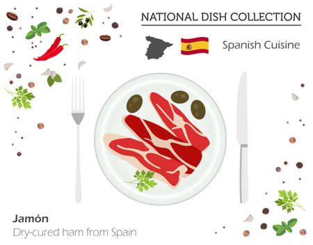 Spanish cuisine, European national dish collection. Dry-cured ham from Spain isolated on white, infographic vector illustration.
