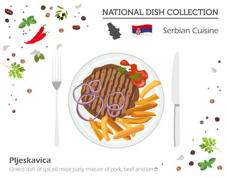 European national dish collection. Grilled dish of spiced meat patty mixture of pork Vector illustration