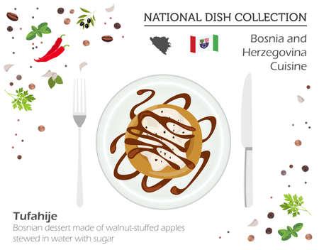 Bosnia and Herzegovina cuisine, European national dish collection. Bosnian walnut-stuffed apples dessert isolated on white, infograpic vector illustration. Illustration
