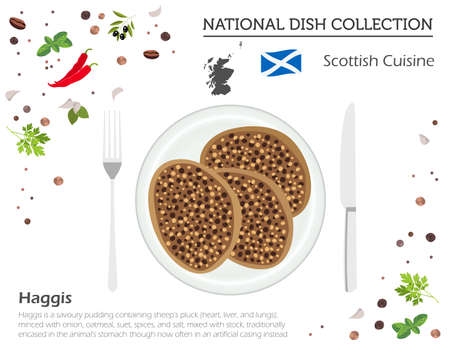 Scottish cuisine, European national dish collection. Haggis isolated on white, infographic, vector illustration.