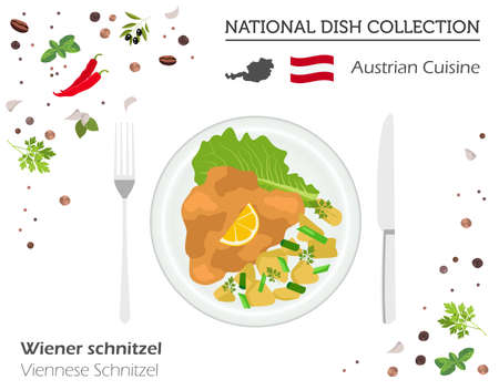 Austrian cuisine, European national dish collection. Viennese schnitzel isolated on white infographic vector illustration.
