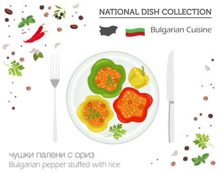 Bulgaria cuisine, European national dish collection. Bulgarian pepper stuffed with rice isolated on white infographic vector illustration. Banque d'images - 98905588