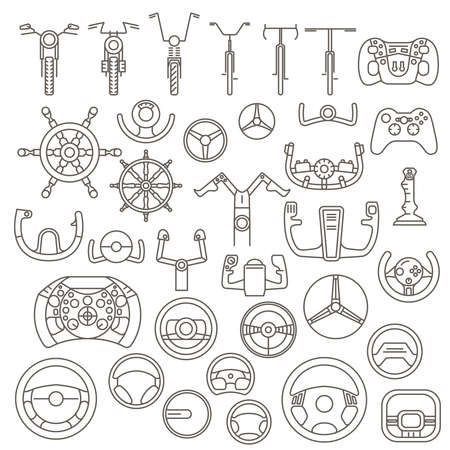 Equipment for transport driving set. Helmet, rudder, steering wheels thin line icons. Vector illustration