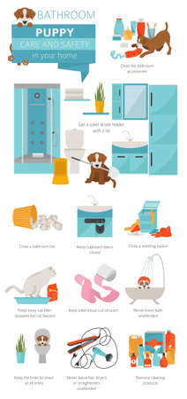 Puppy care and safety in your home. Bathroom. Pet dog training infographic design. Vector illustration