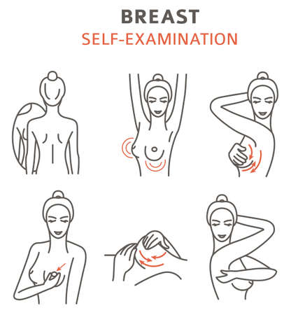 Breast cancer, medical infographic. Self - examination. Women`s health set. Vector illustration