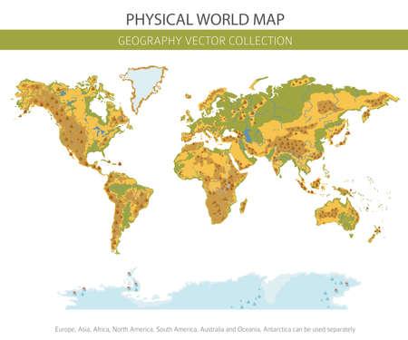 Physische Weltkartenelemente. Erstellen Sie Ihre eigene Grafiksammlung mit Geografiedaten. Vektorillustration