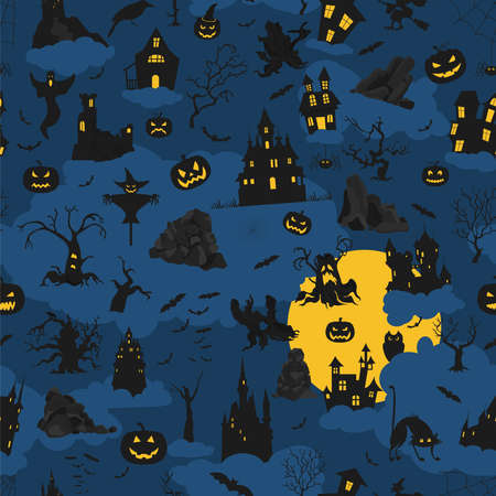 Halloween holiday seamless pattern. Flat design. Vector illustration