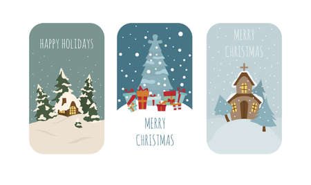 Cute winter holiday sticker icon set. Elements for christmas greeting card, poster design. Vector illustration