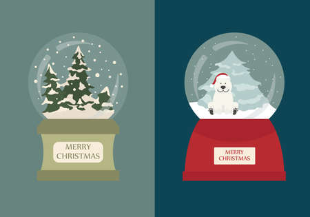 Snow globe icon set. Elements for christmas holiday greeting card, poster design. Vector illustration