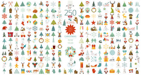 Christmas, New Year holidays icon big set. Flat style collection. Vector illustration  イラスト・ベクター素材