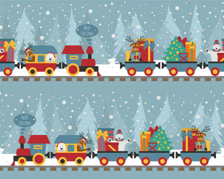 Christmas train with bear, reindeer, gifts. Seamless pattern for children. Vector illustration