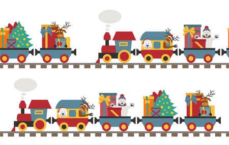 Weihnachtszug mit Bären, Rentieren, Geschenken. Nahtloses Muster für Kinder. Vektor-Illustration