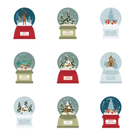 Snow globe icon set. Elements for christmas holiday greeting card, poster design. Vector illustration Vetores