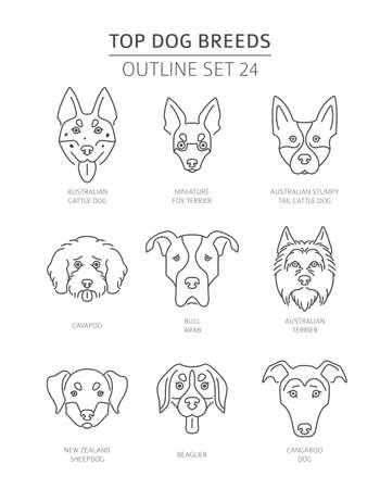 Top dog breeds. Pet outline collection. Vector illustration Vektorové ilustrace