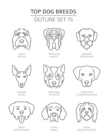 Top dog breeds. Pet outline collection. Vector illustration Vettoriali