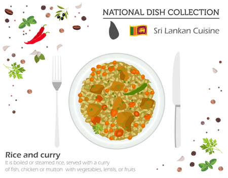 Sri Lankan Cuisine. Asian national dish collection. Rice and curry isolated on white, infograpic. Vector illustration