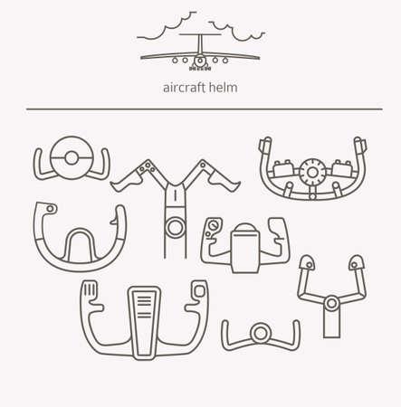 Équipement pour le jeu de logos de conduite de transport. Casque d'avion, icônes de fine ligne de gouvernail. Illustration vectorielle