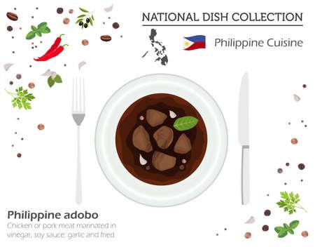 Cocina filipina. Colección de platos nacionales asiáticos. Adobo aislado en blanco, infograpic. Ilustración vectorial Ilustración de vector