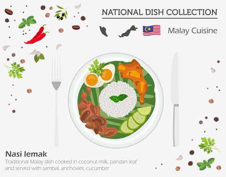 马来菜。亚洲民族美食收藏。Nasi lemak孤立白,信息图表。矢量图