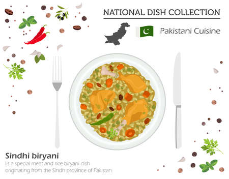 Pakistani Cuisine. Asian national dish collection. Meat and rice isolated on white, infograpic. Vector illustration Ilustração