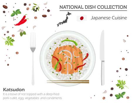 Japanese Cuisine. Asian national dish collection. Katsudon isolated on white, infograpic. Vector illustration Illustration
