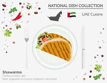 UAE Cuisine. Middle East national dish collection. Shawarma isolated on white, infograpic. Vector illustration