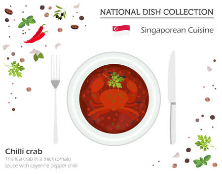 Singaporean Cuisine. Asian national dish collection. Chilli crab isolated on white, infograpic. Vector illustration