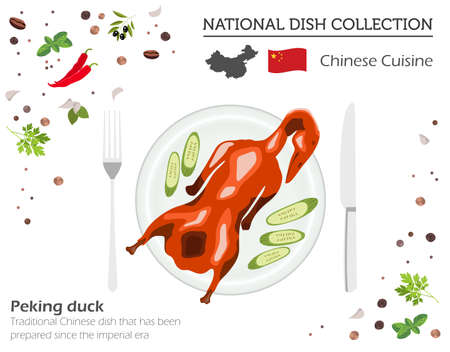 Chinese Cuisine. Asian national dish collection. Peking duck isolated on white, infograpic. Vector illustration