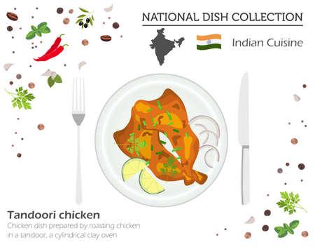 Cucina Indiana. Collezione di piatti nazionali asiatici. Pollo Tandoori isolato su bianco, infografica. Illustrazione vettoriale Vettoriali