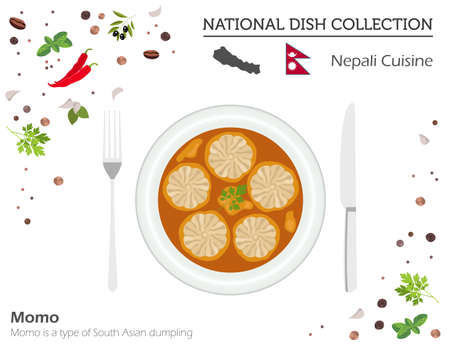 Nepali Cuisine. Asian national dish collection. Momo isolated on white, infograpic. Vector illustration