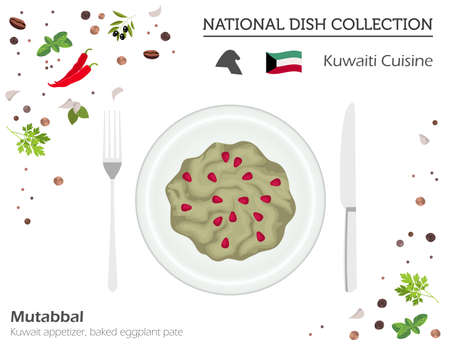 Kuwaiti Cuisine. Middle East national dish collection.  Mutabbal isolated on white, infograpic. Vector illustration