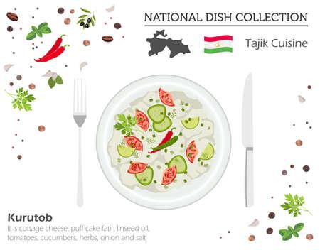 Tajik Cuisine. Asian national dish collection. Kurutob isolated on white, infograpic. Vector illustration Illustration