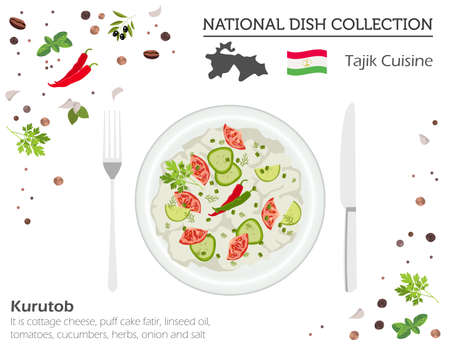 Tajik Cuisine. Asian national dish collection. Kurutob isolated on white, infograpic. Vector illustration Ilustracja