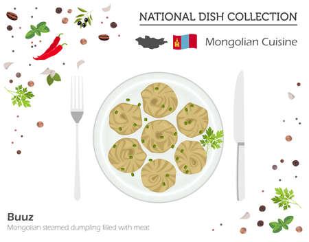 Cucina Mongola. Collezione di piatti nazionali asiatici. Buuz isolato su bianco, infografica. Illustrazione vettoriale Vettoriali