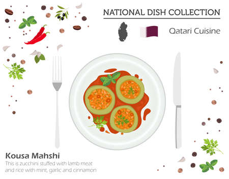 Qatari Cuisine. Middle East national dish collection.  Kousa Mahshi isolated on white, infograpic. Vector illustration  Иллюстрация