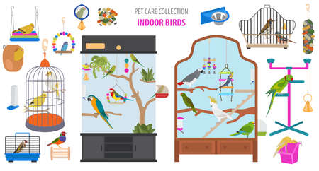 Pet appliance icon set flat style isolated on white. Birds care collection. Create own infographic about parrot, parakeet, canary, thrush, finch, jay bird, starling, amadina, siskin,  toucan, bunting. Vector illustration