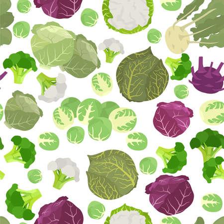 Kohl Vorteile nahtlose Muster. Gartenarbeit, Landwirtschaft. Flaches Design. Vektor-Illustration