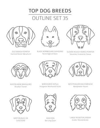 Top dog breeds. Hunting dogs set. Pet outline collection. Vector illustration Векторная Иллюстрация